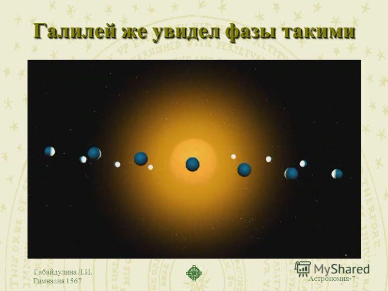 Астрономия-7 Габайдулина Л.И. Гимназия 1567 Галилей же увидел фазы такими