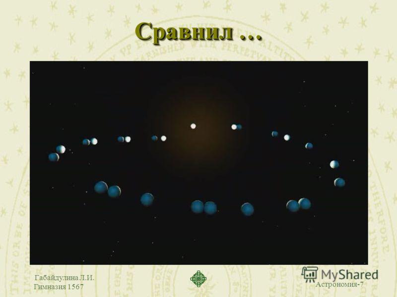 Астрономия-7 Габайдулина Л.И. Гимназия 1567 Сравнил …
