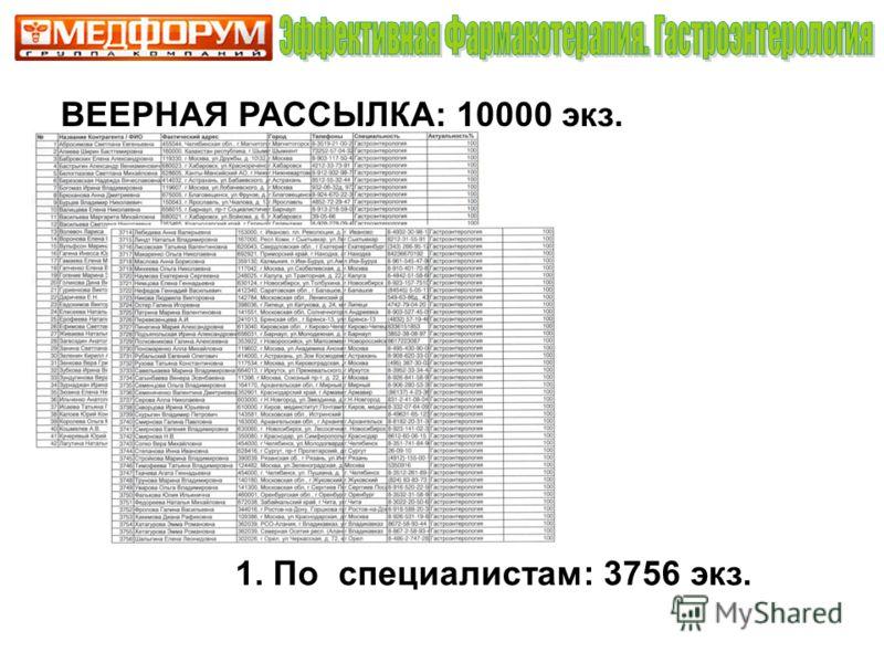 ВЕЕРНАЯ РАССЫЛКА: 10000 экз. 1. По специалистам: 3756 экз.