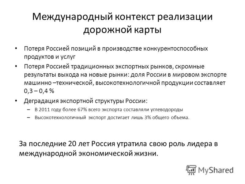 Международный контекст реализации дорожной карты Потеря Россией позиций в производстве конкурентоспособных продуктов и услуг Потеря Россией традиционных экспортных рынков, скромные результаты выхода на новые рынки: доля России в мировом экспорте маши