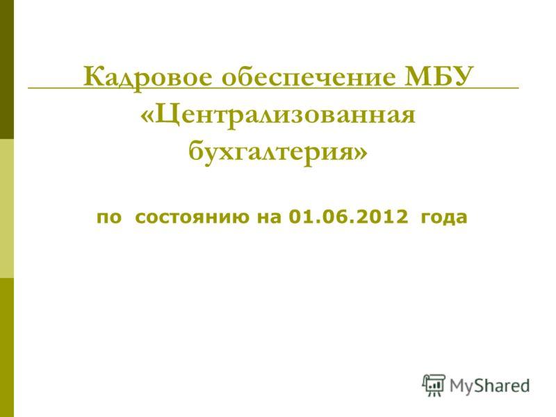 Кадровое обеспечение МБУ «Централизованная бухгалтерия» по состоянию на 01.06.2012 года