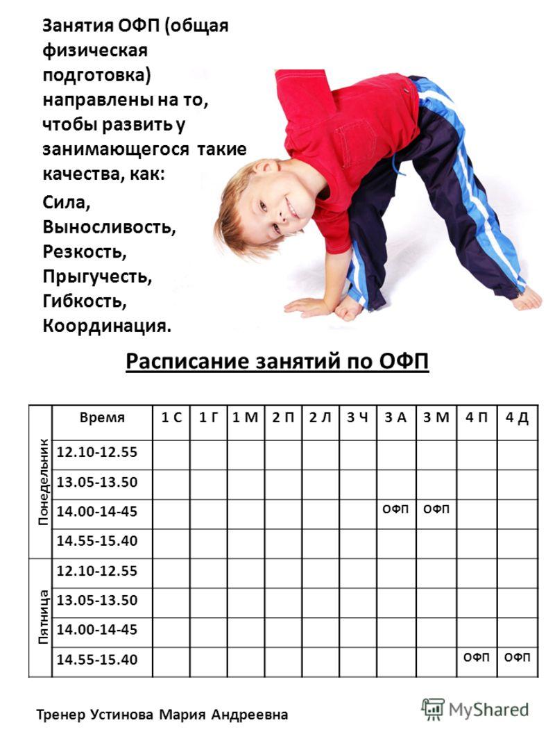 Расписание занятий по ОФП Занятия ОФП (общая физическая подготовка) направлены на то, чтобы развить у занимающегося такие качества, как: Понедельник Время1 С1 Г1 М2 П2 Л3 Ч3 А3 М4 П4 Д 12.10-12.55 13.05-13.50 14.00-14-45 ОФП 14.55-15.40 Пятница 12.10