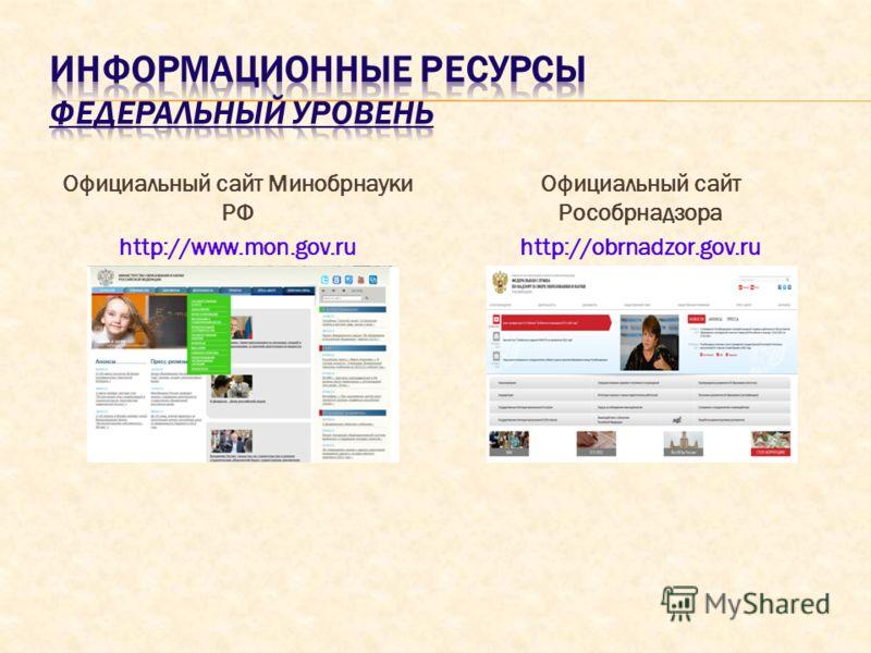 Официальный сайт Минобрнауки РФ http://www.mon.gov.ru Официальный сайт Рособрнадзора http://obrnadzor.gov.ru