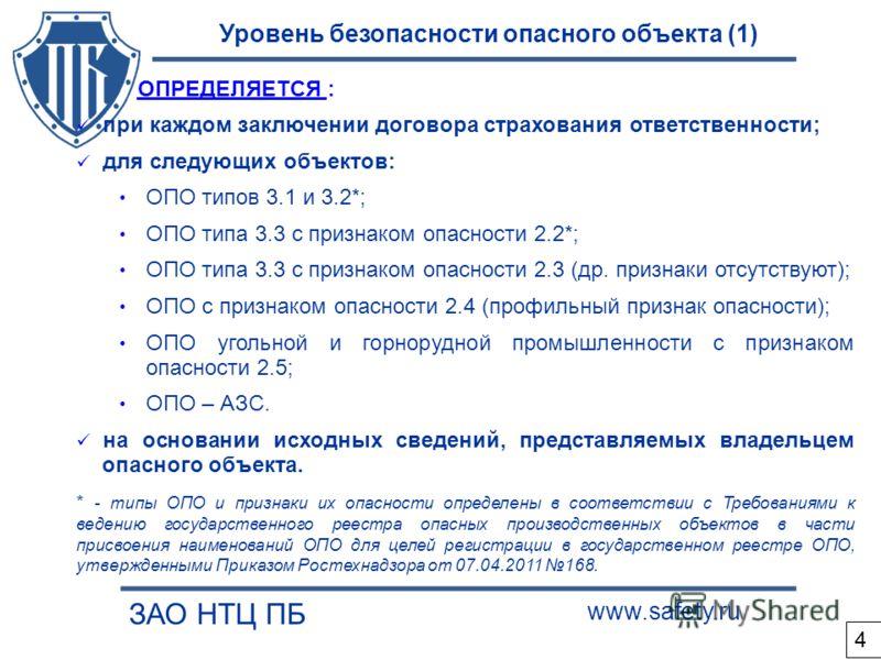 Уровень безопасности опасного объекта (1) ЗАО НТЦ ПБ www.safety.ru ОПРЕДЕЛЯЕТСЯ : при каждом заключении договора страхования ответственности; для следующих объектов: ОПО типов 3.1 и 3.2*; ОПО типа 3.3 с признаком опасности 2.2*; ОПО типа 3.3 с призна