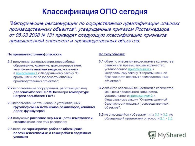Классификация ОПО сегодня