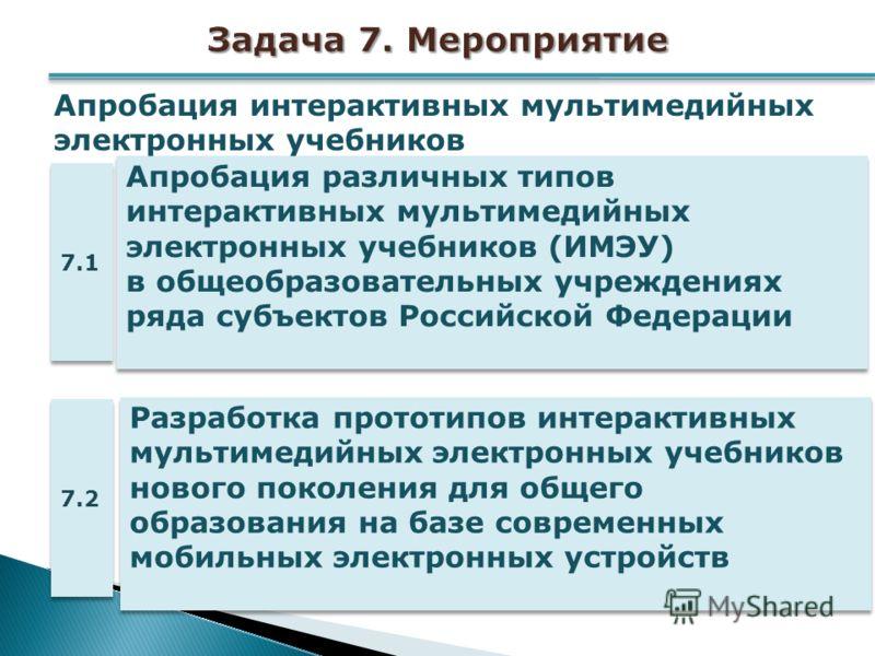 Апробация различных типов интерактивных мультимедийных электронных учебников (ИМЭУ) в общеобразовательных учреждениях ряда субъектов Российской Федерации 7.1 Апробация интерактивных мультимедийных электронных учебников Разработка прототипов интеракти