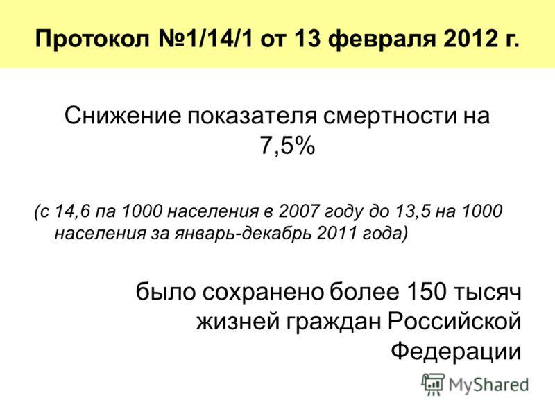 Снижение показателя смертности на 7,5% (с 14,6 па 1000 населения в 2007 году до 13,5 на 1000 населения за январь-декабрь 2011 года) было сохранено более 150 тысяч жизней граждан Российской Федерации Протокол 1/14/1 от 13 февраля 2012 г.
