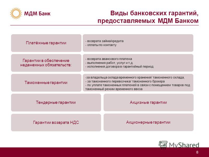 Виды банковских гарантий, предоставляемых МДМ Банком 8 Платёжные гарантии - возврата займа/кредита - оплаты по контакту Гарантии в обеспечение неденежных обязательств: - возврата авансового платежа - выполнения работ, услуг и т.д. - исполнения догово