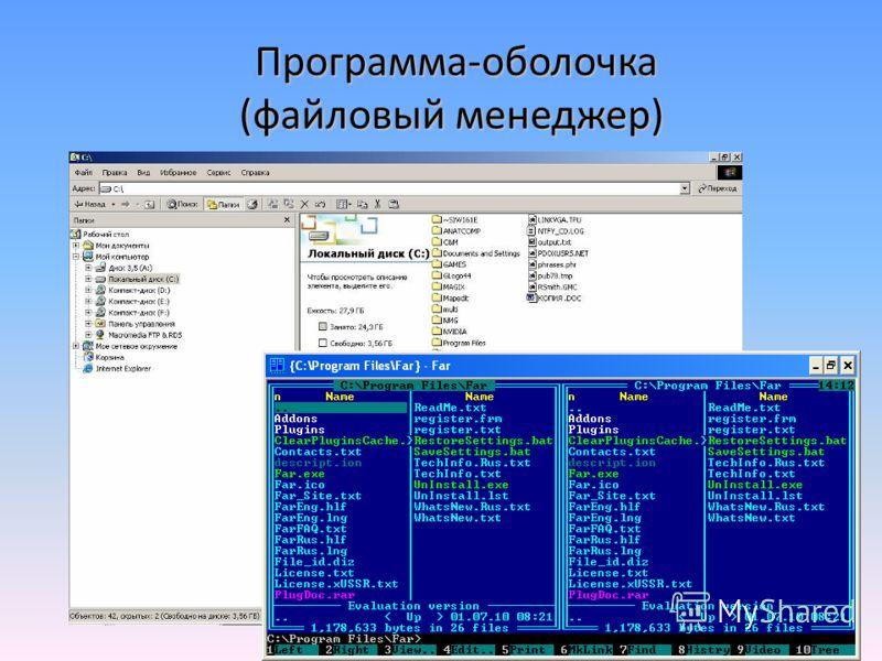 Программа-оболочка (файловый менеджер) Программа-оболочка (файловый менеджер)