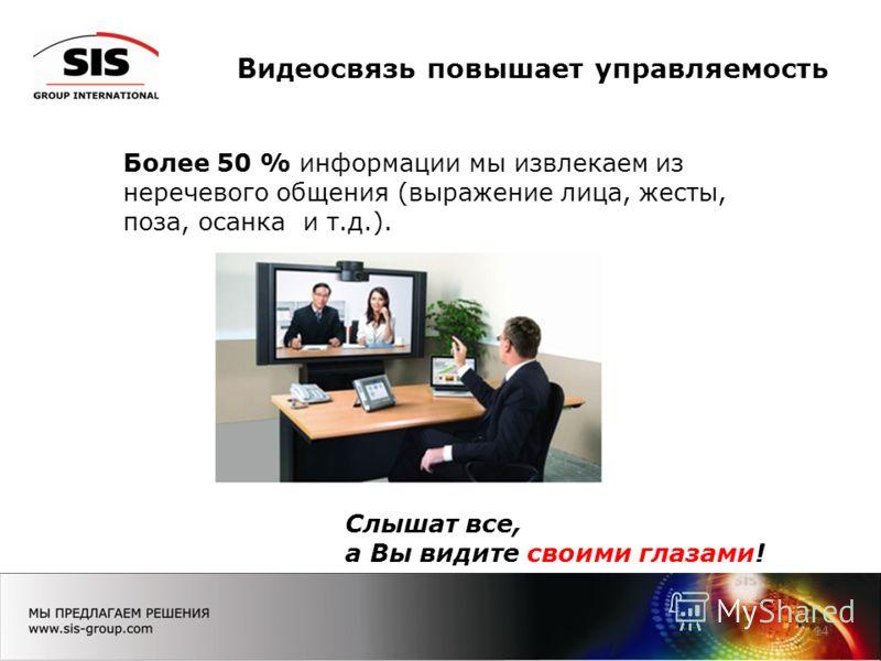 Видеосвязь повышает управляемость 14 Более 50 % информации мы извлекаем из неречевого общения (выражение лица, жесты, поза, осанка и т.д.). Слышат все, а Вы видите своими глазами!