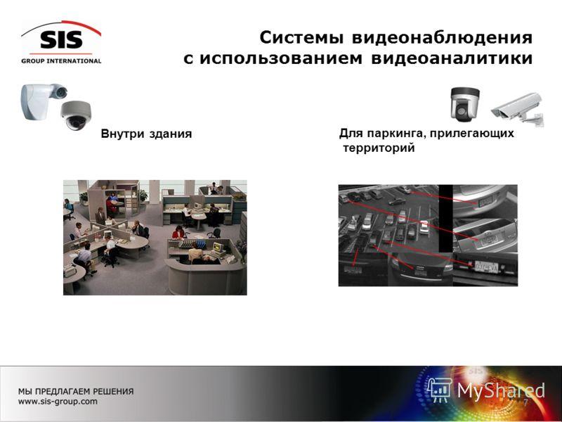 Системы видеонаблюдения с использованием видеоаналитики 7 Внутри здания Для паркинга, прилегающих территорий