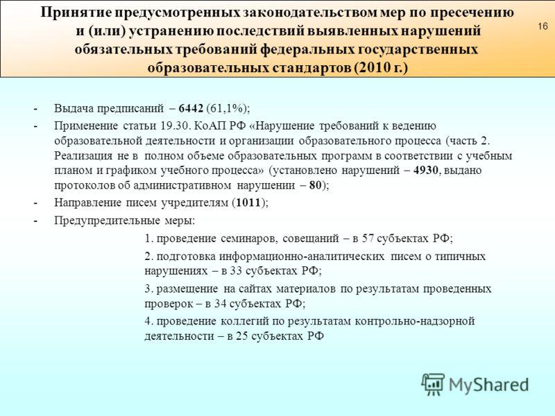 -Выдача предписаний – 6442 (61,1%); -Применение статьи 19.30. КоАП РФ «Нарушение требований к ведению образовательной деятельности и организации образовательного процесса (часть 2. Реализация не в полном объеме образовательных программ в соответствии