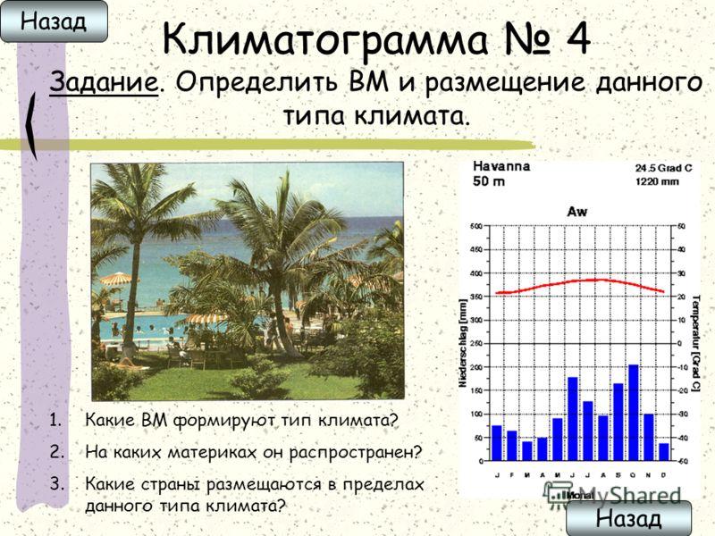 Климатограмма 4 Задание. Определить ВМ и размещение данного типа климата. 1.Какие ВМ формируют тип климата? 2.На каких материках он распространен? 3.Какие страны размещаются в пределах данного типа климата? Назад