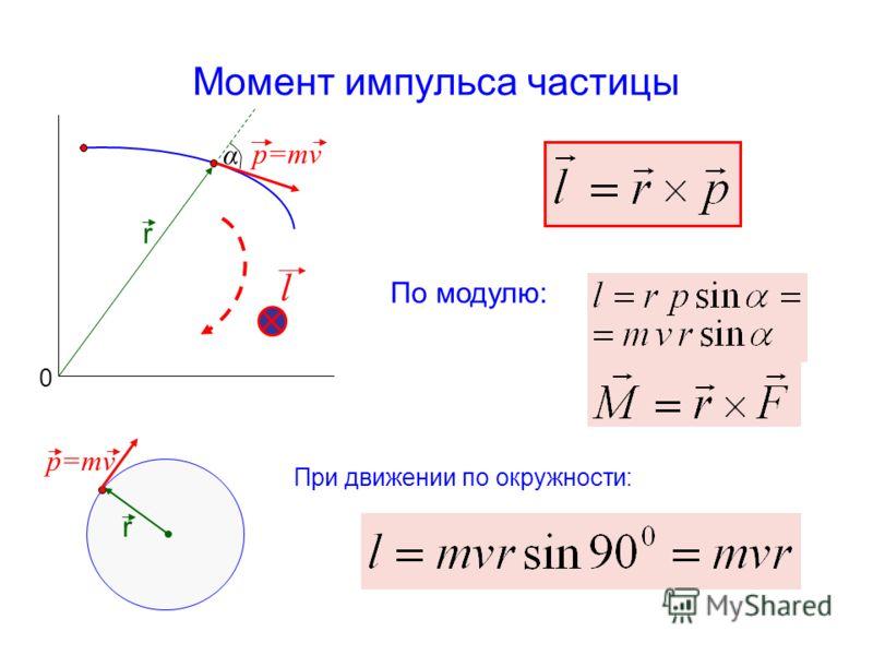 Момент импульса частицы p=mv r По модулю: При движении по окружности: r α 0 l