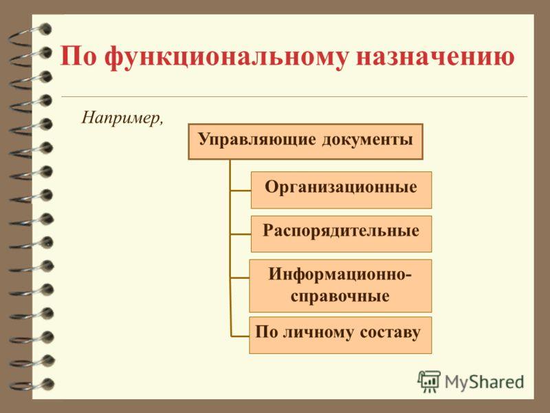 По функциональному назначению Организационные Распорядительные Информационно- справочные По личному составу Управляющие документы Например,