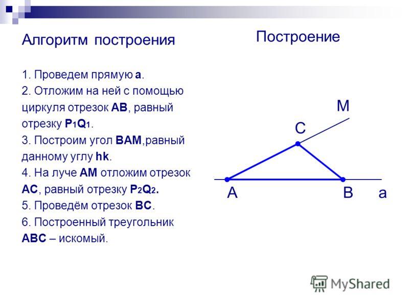 Алгоритм построения 1. Проведем прямую а. 2. Отложим на ней с помощью циркуля отрезок АВ, равный отрезку P 1 Q 1. 3. Построим угол ВАМ,равный данному углу hk. 4. На луче АМ отложим отрезок АС, равный отрезку P 2 Q 2. 5. Проведём отрезок BC. 6. Постро