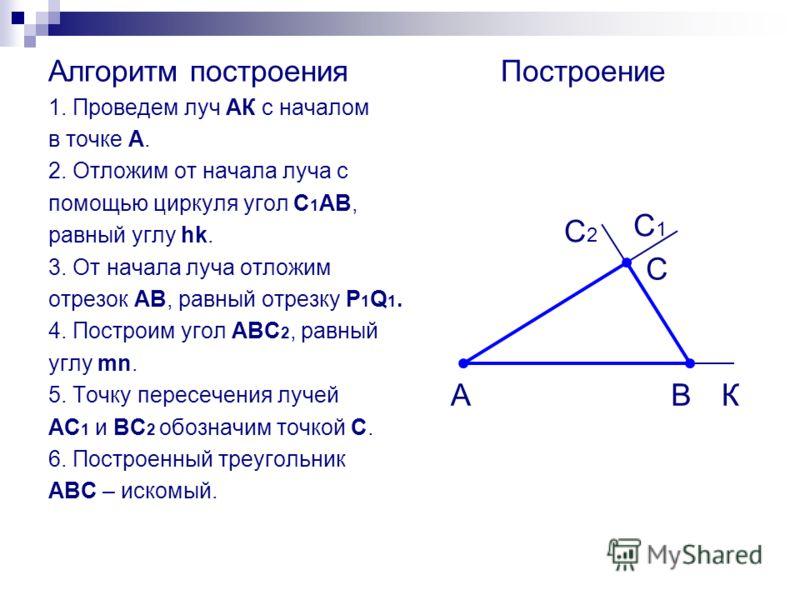 Алгоритм построения 1. Проведем луч АК с началом в точке А. 2. Отложим от начала луча с помощью циркуля угол С 1 АВ, равный углу hk. 3. От начала луча отложим отрезок АВ, равный отрезку P 1 Q 1. 4. Построим угол АВС 2, равный углу mn. 5. Точку пересе