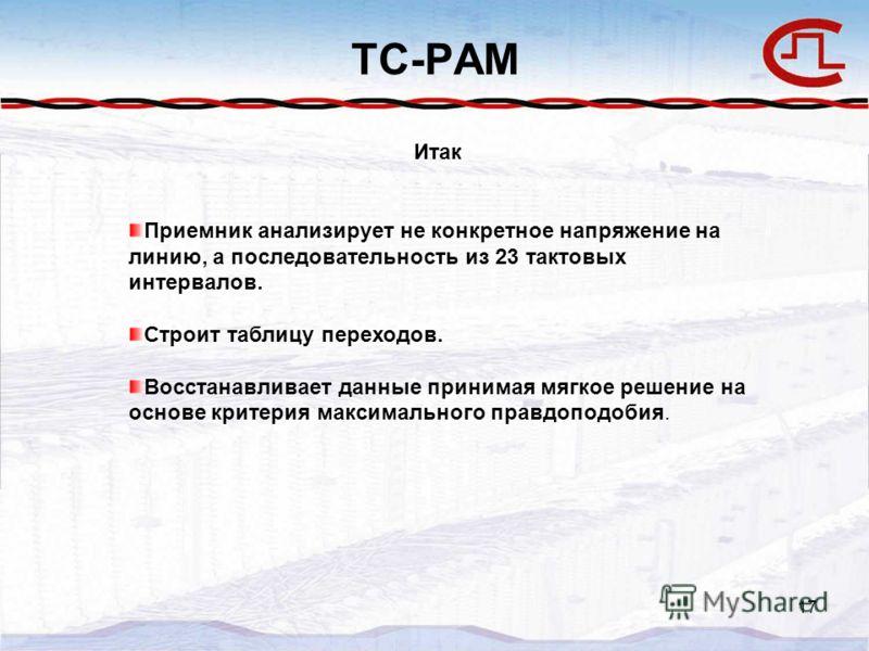 17 TC-PAM Итак Приемник анализирует не конкретное напряжение на линию, а последовательность из 23 тактовых интервалов. Строит таблицу переходов. Восстанавливает данные принимая мягкое решение на основе критерия максимального правдоподобия.