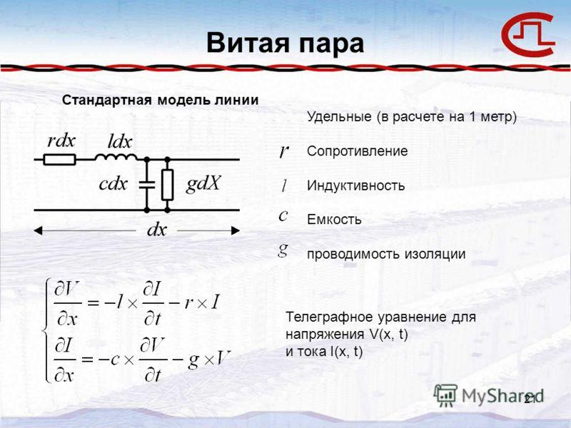 21 Витая пара Удельные (в расчете на 1 метр) Сопротивление Индуктивность Емкость проводимость изоляции Стандартная модель линии Телеграфное уравнение для напряжения V(x, t) и тока I(x, t)