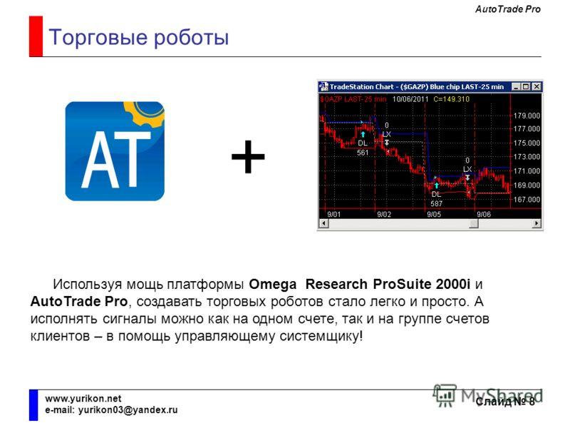 AutoTrade Pro Слайд 8 www.yurikon.net e-mail: yurikon03@yandex.ru Торговые роботы + Используя мощь платформы Omega Research ProSuite 2000i и AutoTrade Pro, создавать торговых роботов стало легко и просто. А исполнять сигналы можно как на одном счете,