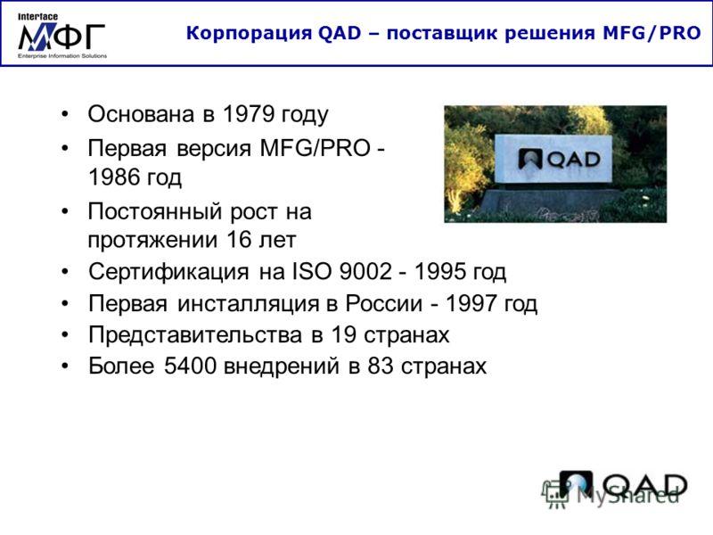 Основана в 1979 году Первая версия MFG/PRO - 1986 год Постоянный рост на протяжении 16 лет Корпорация QAD – поставщик решения MFG/PRO Сертификация на ISO 9002 - 1995 год Первая инсталляция в России - 1997 год Представительства в 19 странах Более 5400