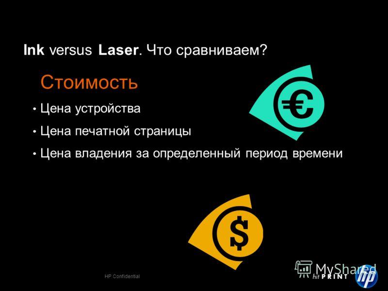 HP Confidential Ink versus Laser. Что сравниваем? Стоимость Цена устройства Цена печатной страницы Цена владения за определенный период времени