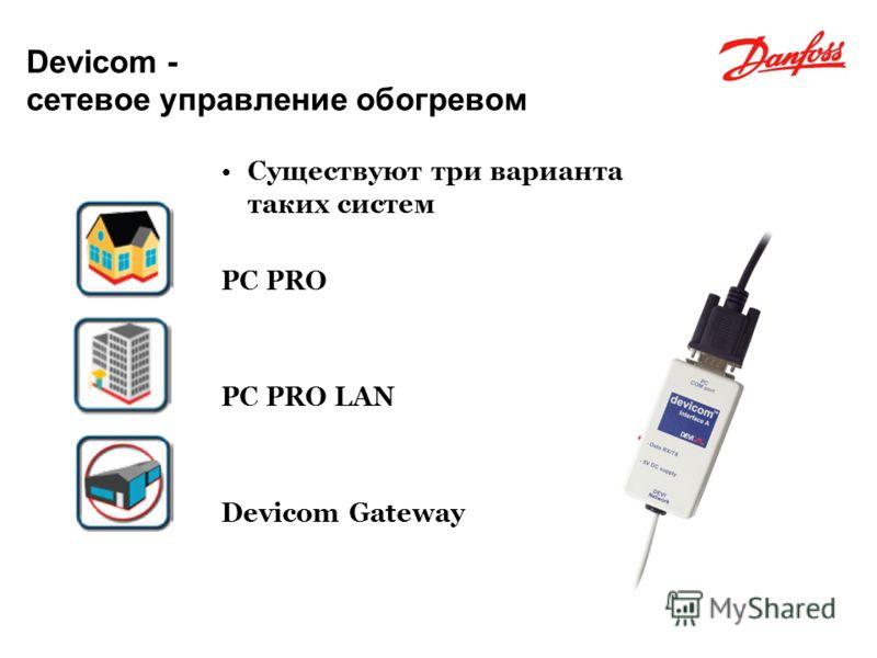 FLOOR HEATING - ELECTRIC FLOOR HEATING ELECTRICAL Devicom - сетевое управление обогревом Существуют три варианта таких систем PC PRO PC PRO LAN Devicom Gateway