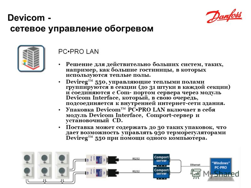 FLOOR HEATING - ELECTRIC FLOOR HEATING ELECTRICAL Devicom - сетевое управление обогревом PCPRO LAN Решение для действительно больших систем, таких, например, как большие гостиницы, в которых используются теплые полы. Devireg 550, управляющие теплыми