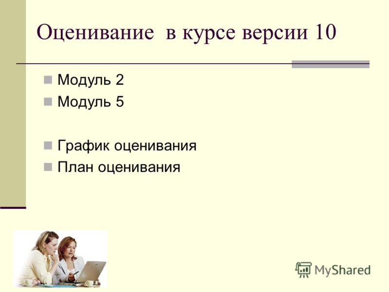 Модуль 2 Модуль 5 График оценивания План оценивания Оценивание в курсе версии 10