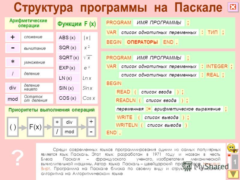 Среди современных языков программирования одним из самых популярных является язык Паскаль. Этот язык разработан в 1971 году и назван в честь Блеза Паскаля – французского ученого, изобретателя механической вычислительной машины. Автор языка Паскаль –
