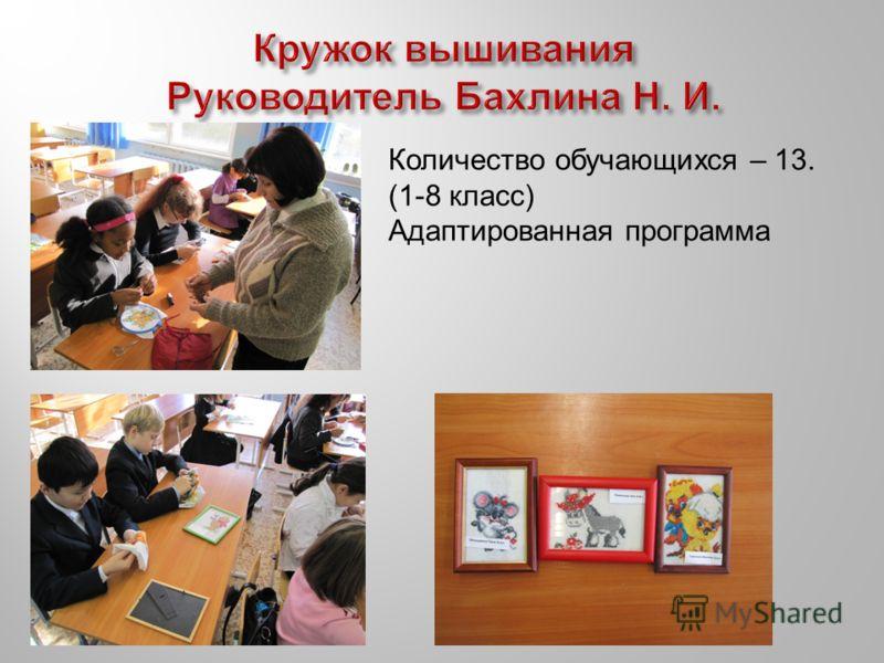 Количество обучающихся – 13. (1-8 класс) Адаптированная программа