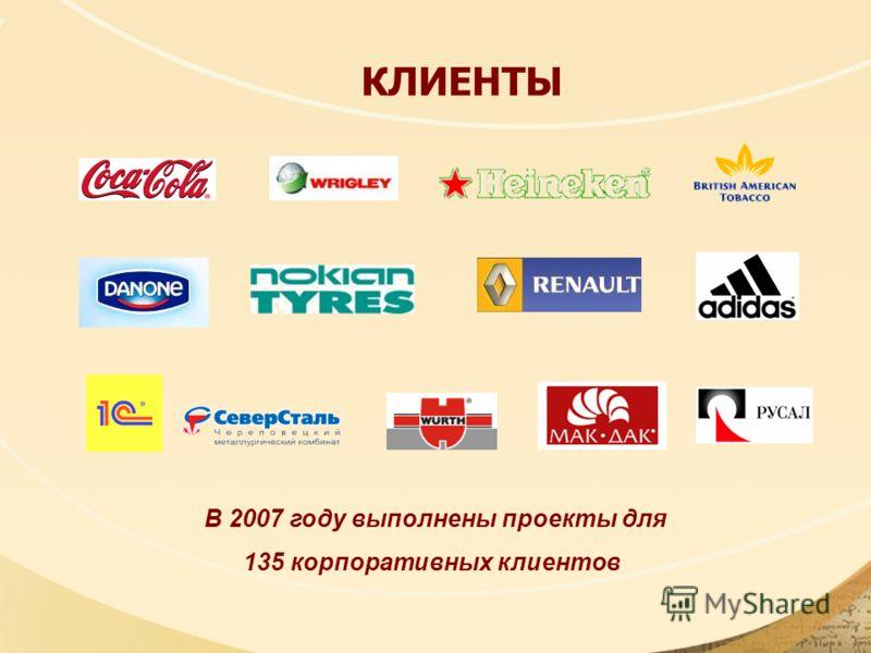 КЛИЕНТЫ В 2007 году выполнены проекты для 135 корпоративных клиентов