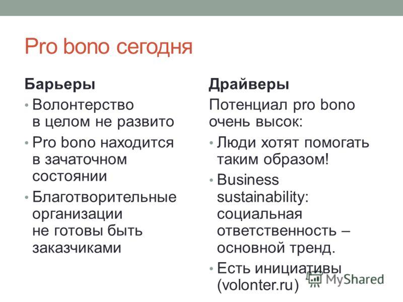 Pro bono сегодня Барьеры Волонтерство в целом не развито Pro bono находится в зачаточном состоянии Благотворительные организации не готовы быть заказчиками Драйверы Потенциал pro bono очень высок: Люди хотят помогать таким образом! Business sustainab
