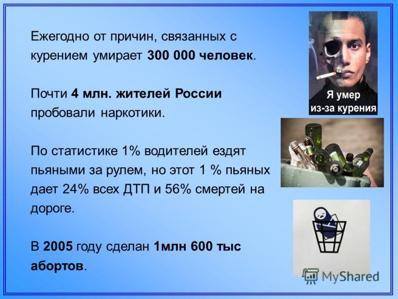 Ежегодно от причин, связанных с курением умирает 300 000 человек. Почти 4 млн. жителей России пробовали наркотики. По статистике 1% водителей ездят пьяными за рулем, но этот 1 % пьяных дает 24% всех ДТП и 56% смертей на дороге. В 2005 году сделан 1мл