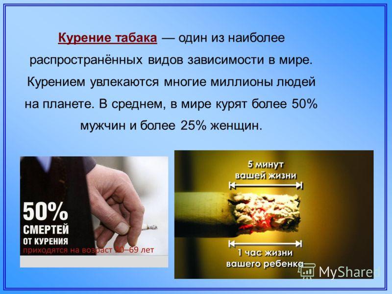 Курение табака один из наиболее распространённых видов зависимости в мире. Курением увлекаются многие миллионы людей на планете. В среднем, в мире курят более 50% мужчин и более 25% женщин.