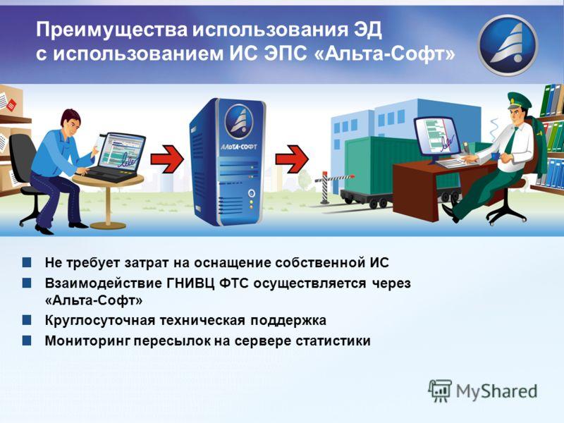 Не требует затрат на оснащение собственной ИС Взаимодействие ГНИВЦ ФТС осуществляется через «Альта-Софт» Круглосуточная техническая поддержка Мониторинг пересылок на сервере статистики Преимущества использования ЭД с использованием ИС ЭПС «Альта-Софт