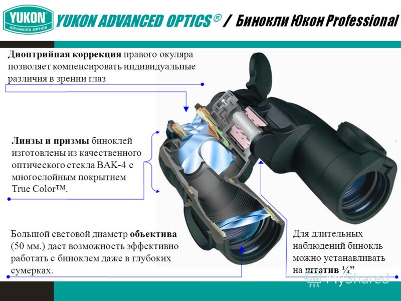 Для длительных наблюдений бинокль можно устанавливать на штатив ¼ Диоптрийная коррекция правого окуляра позволяет компенсировать индивидуальные различия в зрении глаз Большой световой диаметр объектива (50 мм.) дает возможность эффективно работать с