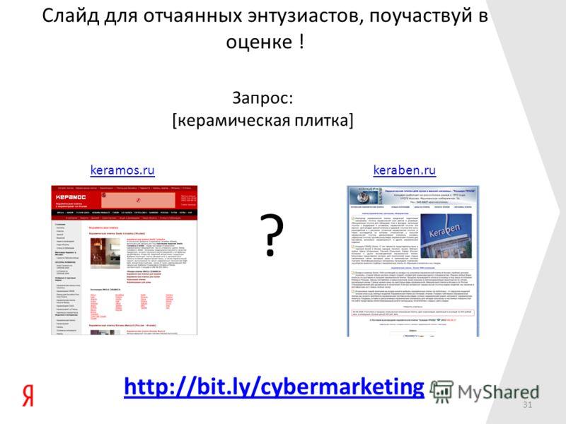 keramos.rukeraben.ru ? Запрос: [керамическая плитка] Слайд для отчаянных энтузиастов, поучаствуй в оценке ! http://bit.ly/cybermarketing 31