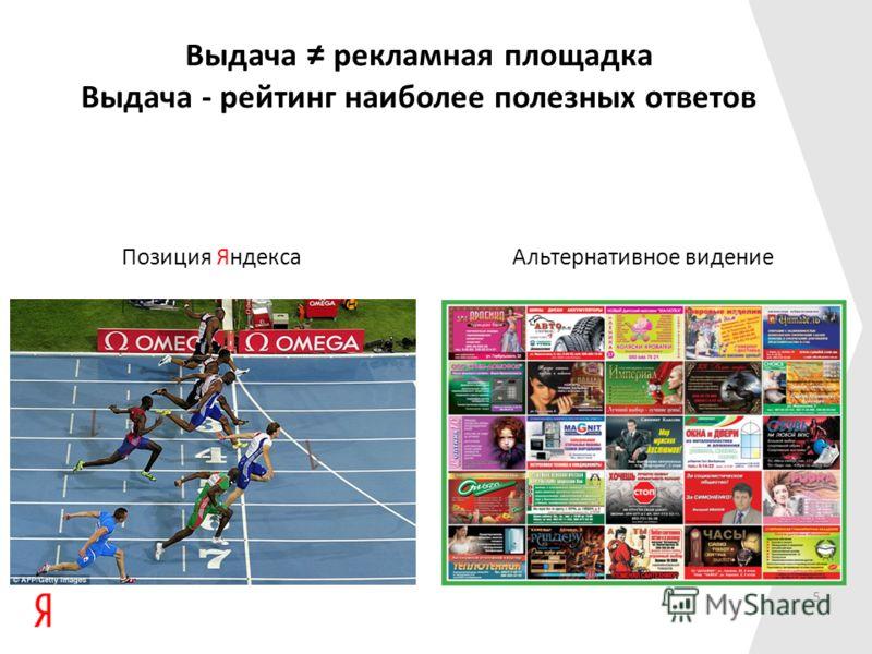Выдача рекламная площадка Выдача - рейтинг наиболее полезных ответов Позиция ЯндексаАльтернативное видение 5