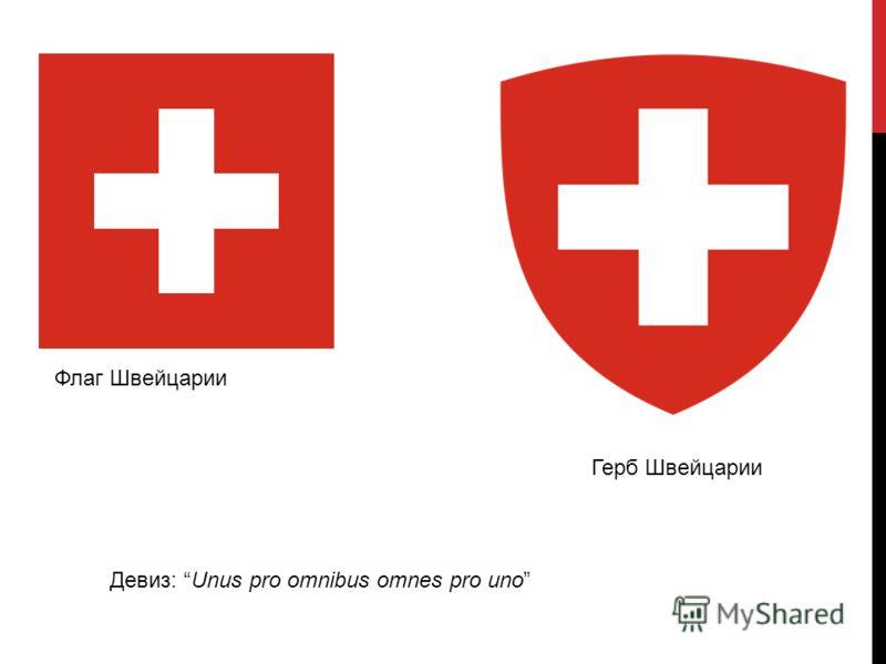 Флаг Швейцарии Герб Швейцарии Девиз: Unus pro omnibus omnes pro uno