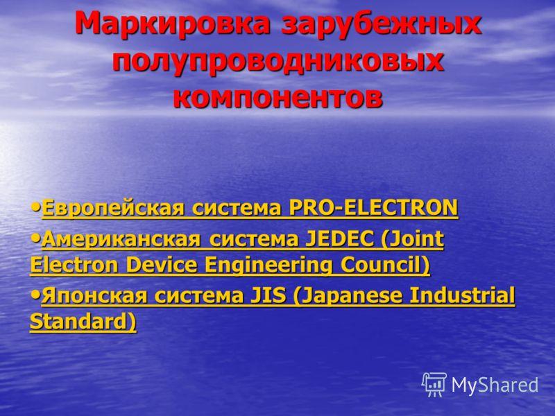 Маркировка зарубежных полупроводниковых компонентов Европейская система PRO-ELECTRON Европейская система PRO-ELECTRON Европейская система PRO-ELECTRON Европейская система PRO-ELECTRON Американская система JEDEC (Joint Electron Device Engineering Coun