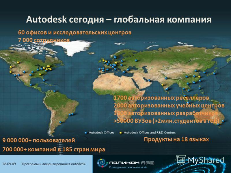 Видеоконференцсвязь. 21.01.09 Autodesk сегодня – глобальная компания 9 000 000+ пользователей 700 000+ компаний в 185 стран мира 60 офисов и исследовательских центров 7 000 сотрудников 1700 авторизованных реселлеров 2000 авторизованных учебных центро
