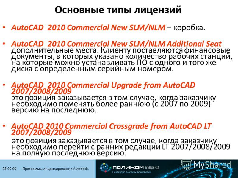Видеоконференцсвязь. 21.01.09 AutoCAD 2010 Commercial New SLM/NLM – коробка. AutoCAD 2010 Commercial New SLM/NLM Additional Seat дополнительные места. Клиенту поставляются финансовые документы, в которых указано количество рабочих станций, на которые