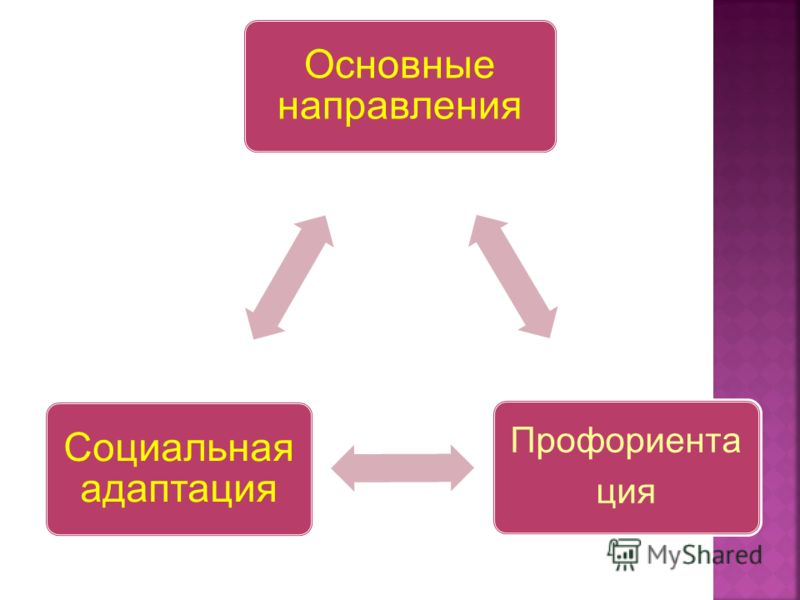 Основные направления Профориента ция Социальная адаптация