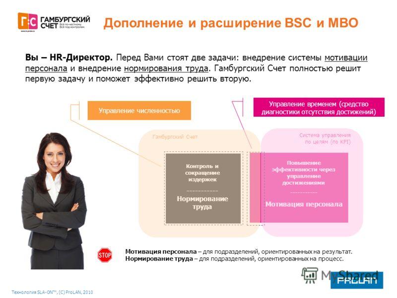 Технология SLA-ON, (С) ProLAN, 2010 Дополнение и расширение BSC и MBO Вы – HR-Директор. Перед Вами стоят две задачи: внедрение системы мотивации персонала и внедрение нормирования труда. Гамбургский Счет полностью решит первую задачу и поможет эффект