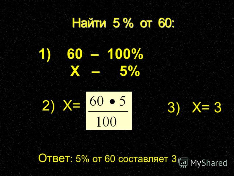 Найти 5 % от 60: Ответ : 5% от 60 составляет 3 1) 60 – 100% Х – 5% 2) Х= 3) Х= 3