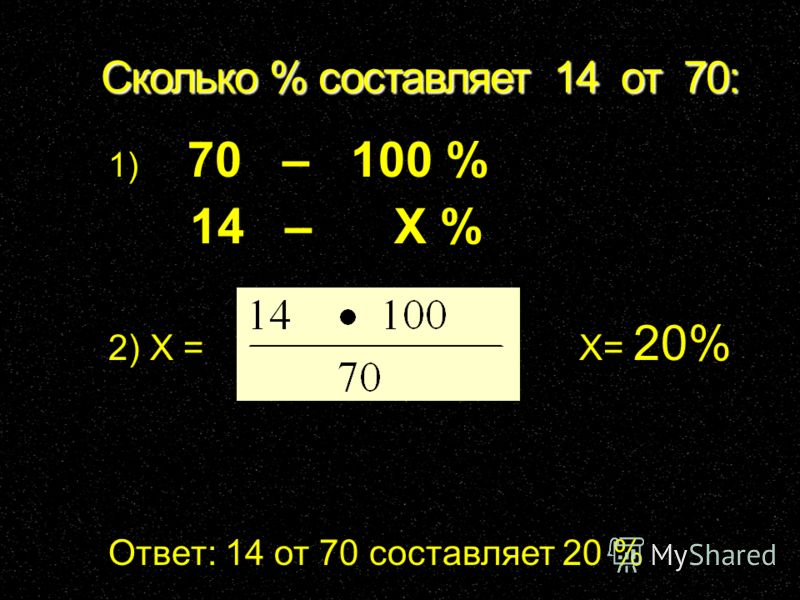 Сколько % составляет 14 от 70: 1) 70 – 100 % 14 – X % 2) X = X= 20% Ответ: 14 от 70 составляет 20 %