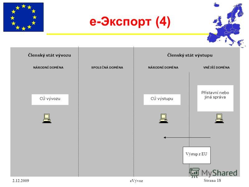 Strana 18 2.12.2009eVývoz e- Экспорт (4) CÚ vývozu Členský stát vývozuČlenský stát výstupu SPOLEČNÁ DOMÉNA Výstup z EU CÚ výstupu Přístavní nebo jiná správa VNĚJŠÍ DOMÉNANÁRODNÍ DOMÉNA