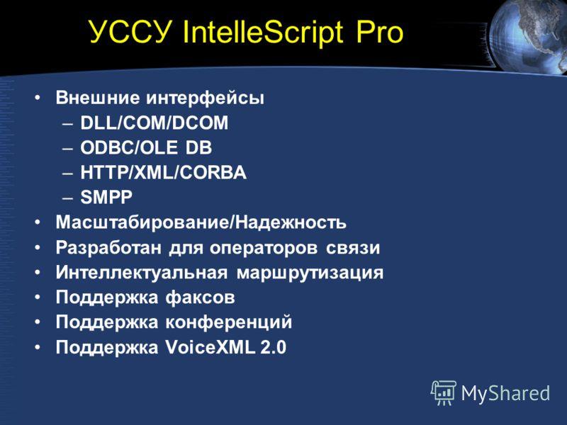 УССУ IntelleScript Pro Внешние интерфейсы –DLL/COM/DCOM –ODBC/OLE DB –HTTP/XML/CORBA –SMPP Масштабирование/Надежность Разработан для операторов связи Интеллектуальная маршрутизация Поддержка факсов Поддержка конференций Поддержка VoiceXML 2.0