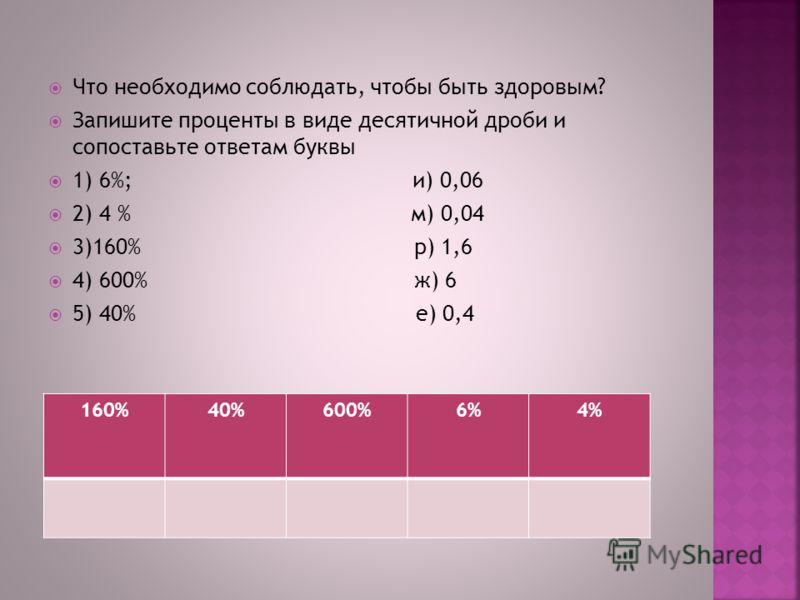 Что необходимо соблюдать, чтобы быть здоровым? Запишите проценты в виде десятичной дроби и сопоставьте ответам буквы 1) 6%; и) 0,06 2) 4 % м) 0,04 3)160% р) 1,6 4) 600% ж) 6 5) 40% е) 0,4 160%40%600%6%4%